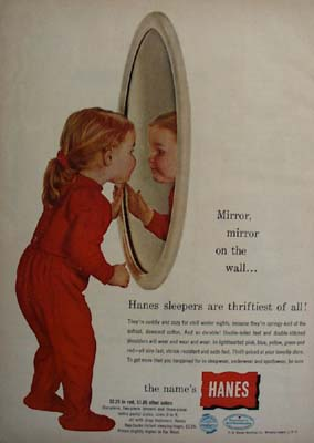 Hanes Little Girl In Red With Mirror Ad 1954