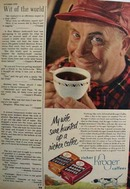 Kroger Coffee And Man In Red Cap Ad 1950
