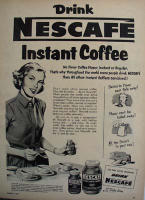 Nescafe Coffee Woman With Jar And Spoon Ad 1952