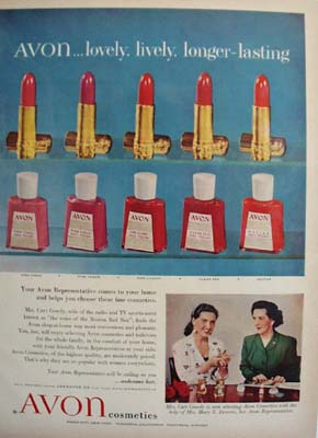 Avon Cosmetics And Mrs Curt Gowdy Ad 1954