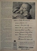 Johnsons Baby Lotion And Sally Lee Hancock Ad 1951