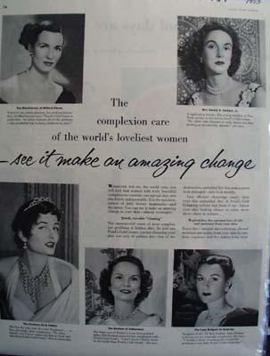 Ponds Cold Cream Worlds Loveliest Women Ad 1953