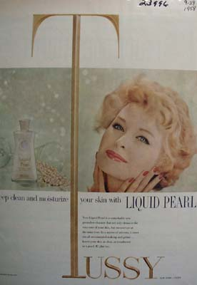 Tussy Liquid Pearl Clean And Moisturize Ad 1958