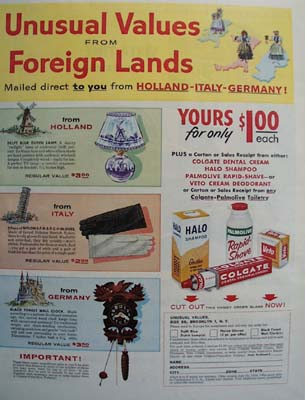 Colgate Unusual Values From Foreign Lands Ad 1958