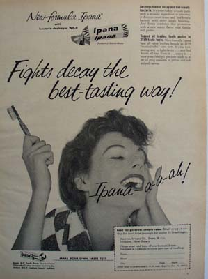 Ipana Toothpaste And Lady With Toothbrush Ad 1954