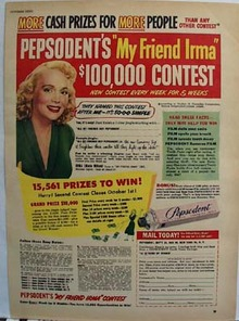 Pepsodent Toothpaste My Friend Irma Ad 1950