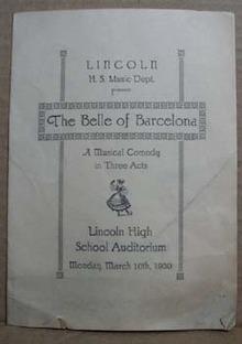 Lincoln H.S The Belle of Barcelona Program, 1930
