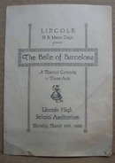 Lincoln H.S The Belle of Barcelona Program, 1930