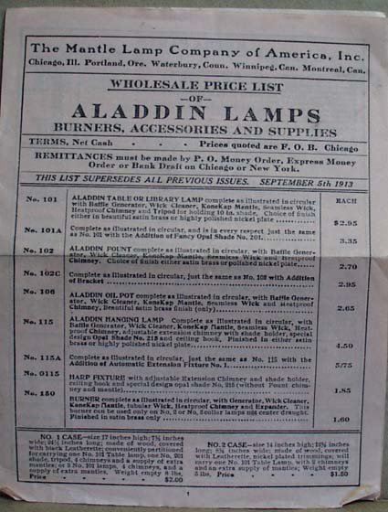 Aladdin Lamps Wholesale Price list of 1913