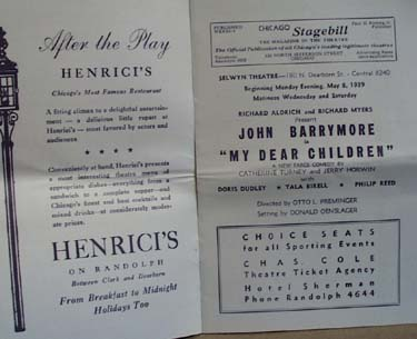 Chicago Stagebill Selwy Theatre John Barrymore
