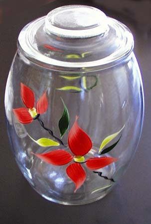 Gallon Glass cookie jar with handpainted flower