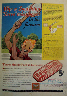 Baby Ruth Candy Boy Playing Tennis Ad 1938