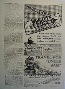 Wrigleys Spearmint Men Rowing Boat Ad 1928