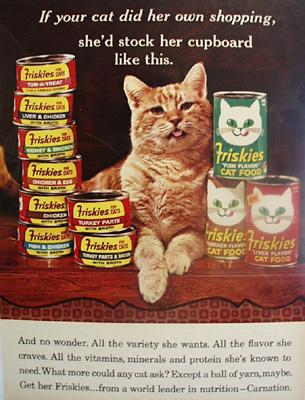 Friskies Cat Food And  Cat Ad 1965