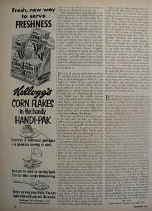 Kelloggs Corn Flakes Handi Pak Freshness Ad 1953