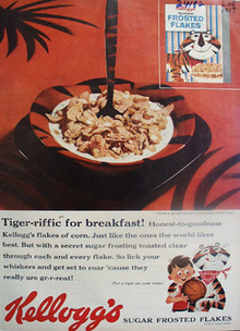 Kelloggs Sugar Frosted Flakes Tiger riffic Ad 1959