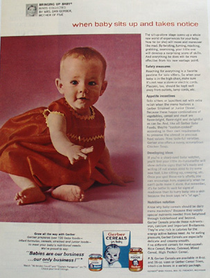 Gerber Cereals Baby Sits Up And Takes Notice Ad 1964