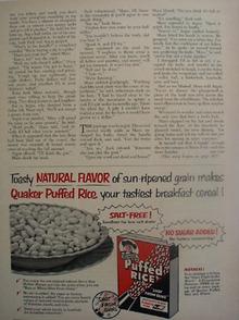 Quaker Puffed Rice Sun Ripened Grain Ad 1953