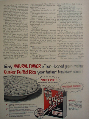 Quaker Puffed Rice Sun Ripened Grain Ad 1953