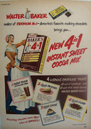Bakers Cocoa Mix 4 in 1 Ad 1950