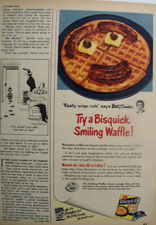 Bisquick Smiling Waffle from Betty Crocker Ad 1950