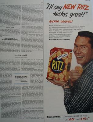Ritz Crackers Tastes Great Ad 1953