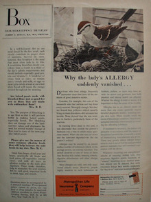 Metropolitan Life Ins. Bird On Nest Ad 1954