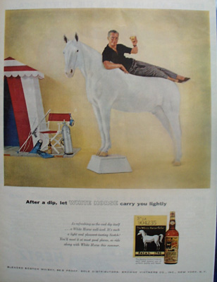 White Horse Scotch Man Reclining On Horse Ad 1958