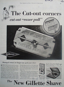 Gillette Cut Out Corners Ad 1930