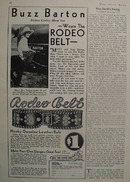 Rodeo Belt And Movie Star Buzz Barton Ad 1930s