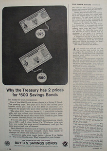 U S Savings Bonds Ad Two Prices Ad 1964