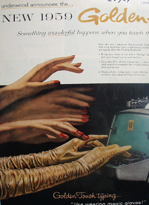 Underwood Typewriter Golden Touch Electric Ad 1958