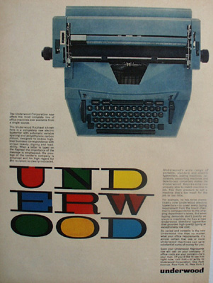 Underwood Typewriter Letters In Color Ad 1961