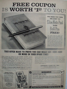 Artistic Card Co Free Coupon Ad 1959