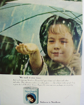 Northern Tissue Girl Under Umbrella Ad 1964