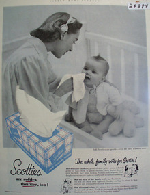 Scotties Tissues Mother Baby Teddy Bear Ad 1952