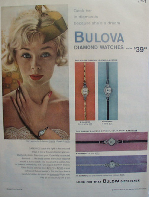 Bulova  Deck Her In Diamonds Ad 1959