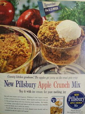 Pillsbury Apple Crunch Mix Ad 1959