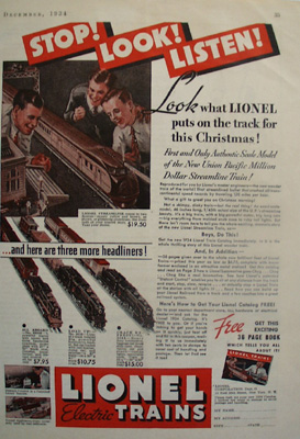 Lionel Trains Stop Look Listen Ad 1934