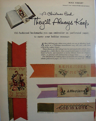 Embroidered Christmas Bookmarks Article 1954