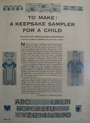 Keepsake Sampler For Child Article 1952
