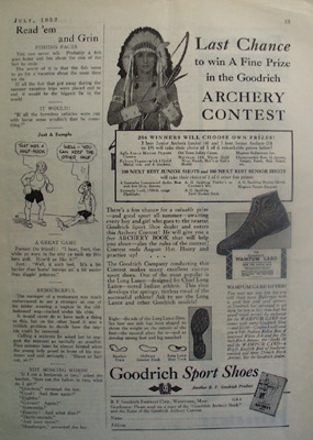 Goodrich Sport Shoe And Picture of Indian Ad 1932