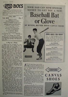 Hood Shoes Baseball Bat or Glove Ad 1937