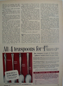 Holmes Edwards Sterling Four For One Dollar Ad 1953