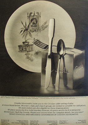 Oneida Silver October Table Setting Ad 1965