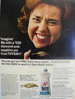 Ivory Liquid Diamond And Sapphire Pin Ad 1966