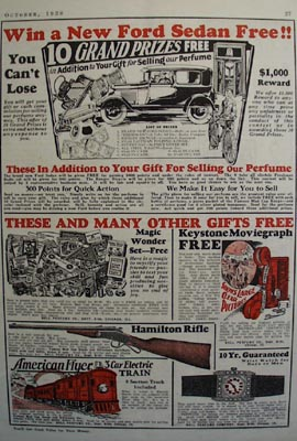 Bell Perfume Co Sales Contest Ad 1928