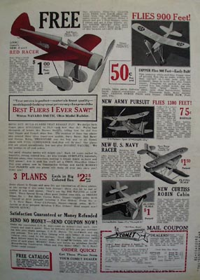 Comet Model Airplane Flies 900 Feet Ad 1932