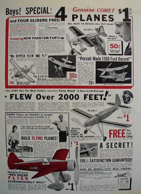 Comet Model Airplane Boys Special Ad 1933