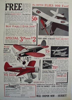 Comet Model Airplane Dipper Flies 900 Feet Ad 1932